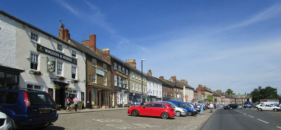 Bedale town centre with shops and amenities