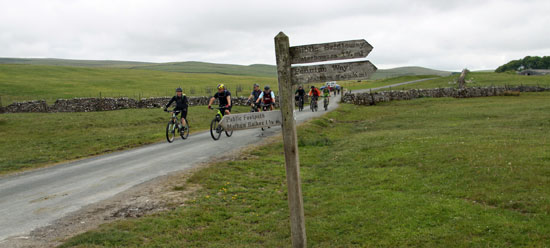Cyclists near Malham Tarn and Pennine Way